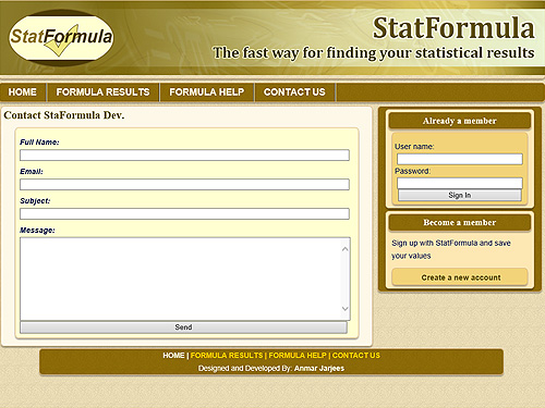 StatFormula CodeIgnitor Project Sample